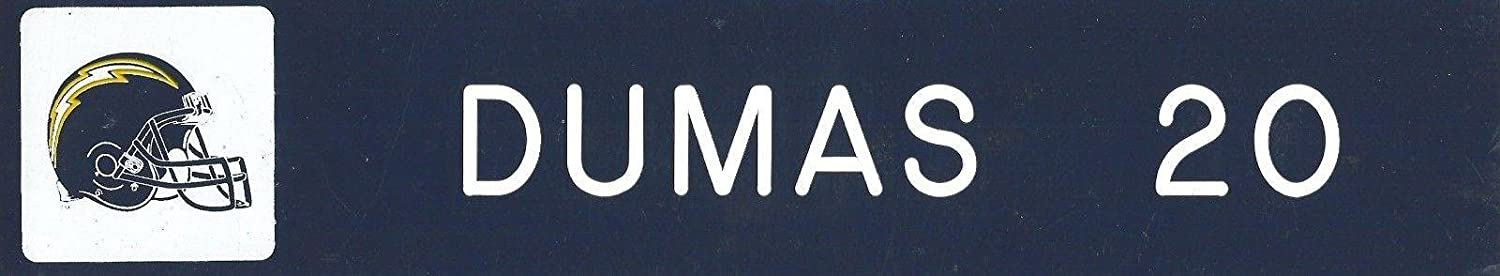 Mike Dumas Game Used 1997 2000 Chargers Football Locker Name Plate #20 Indiana - NFL Game Used Footballs