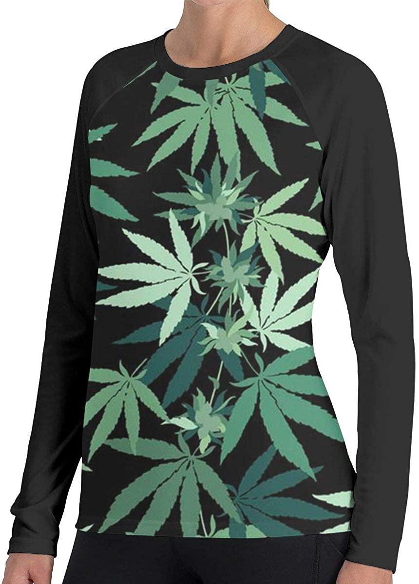 Women's Weed Marijuana Leaf Casual Long Sleeve Tops Sweatshirt Tee T-Shirt