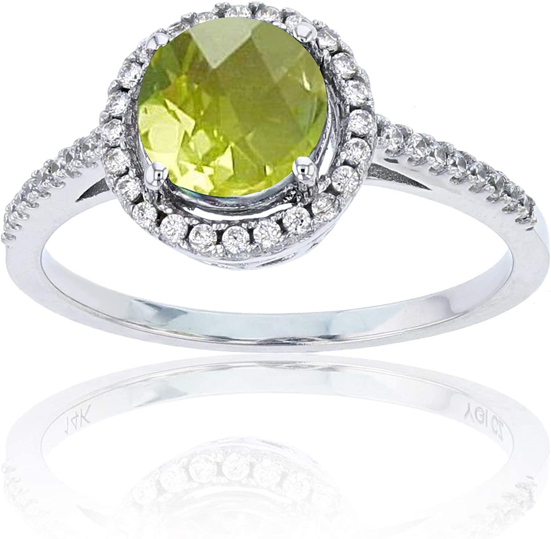 Sterling Silver Rhodium 1mm Cr White Sapphire & 7mm Rnd Cr Green Sapphire Halo Ring