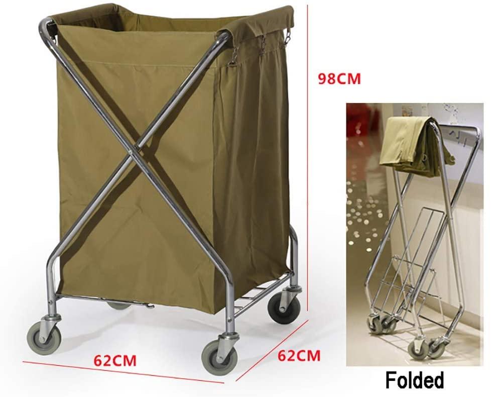 KMMK Hospital Trolley, Medical Supplies Rack-Medical Cart Tool Folding X-Type Hotel Linen Car, Mobile Storage Trolley Cart with Universal Wheel, Beige Room Service Cart, 626298Cm