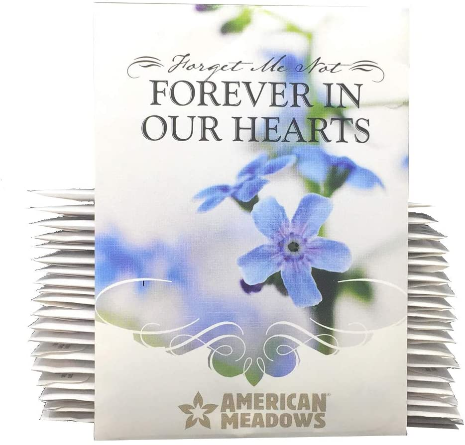 Forever in Our Hearts - Individual Forget Me Not Flower Seed Packet Favors - Ready to Give - Pack of 20