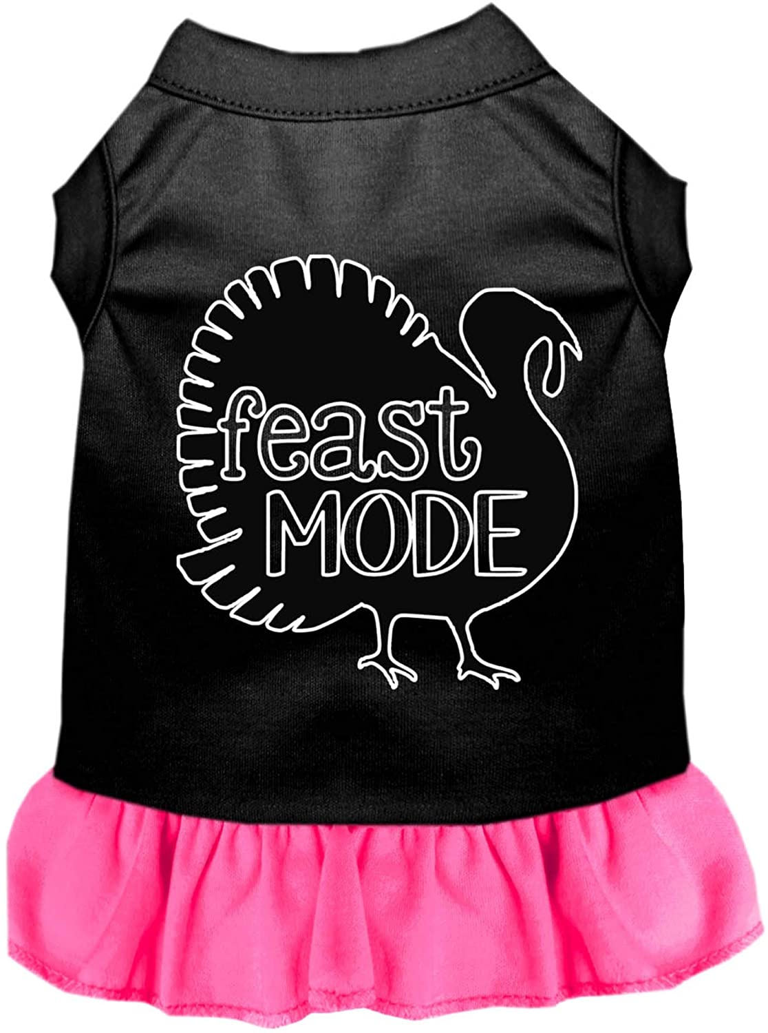 Mirage Pet Product Feast Mode Screen Print Dog Dress Black with Bright Pink Med