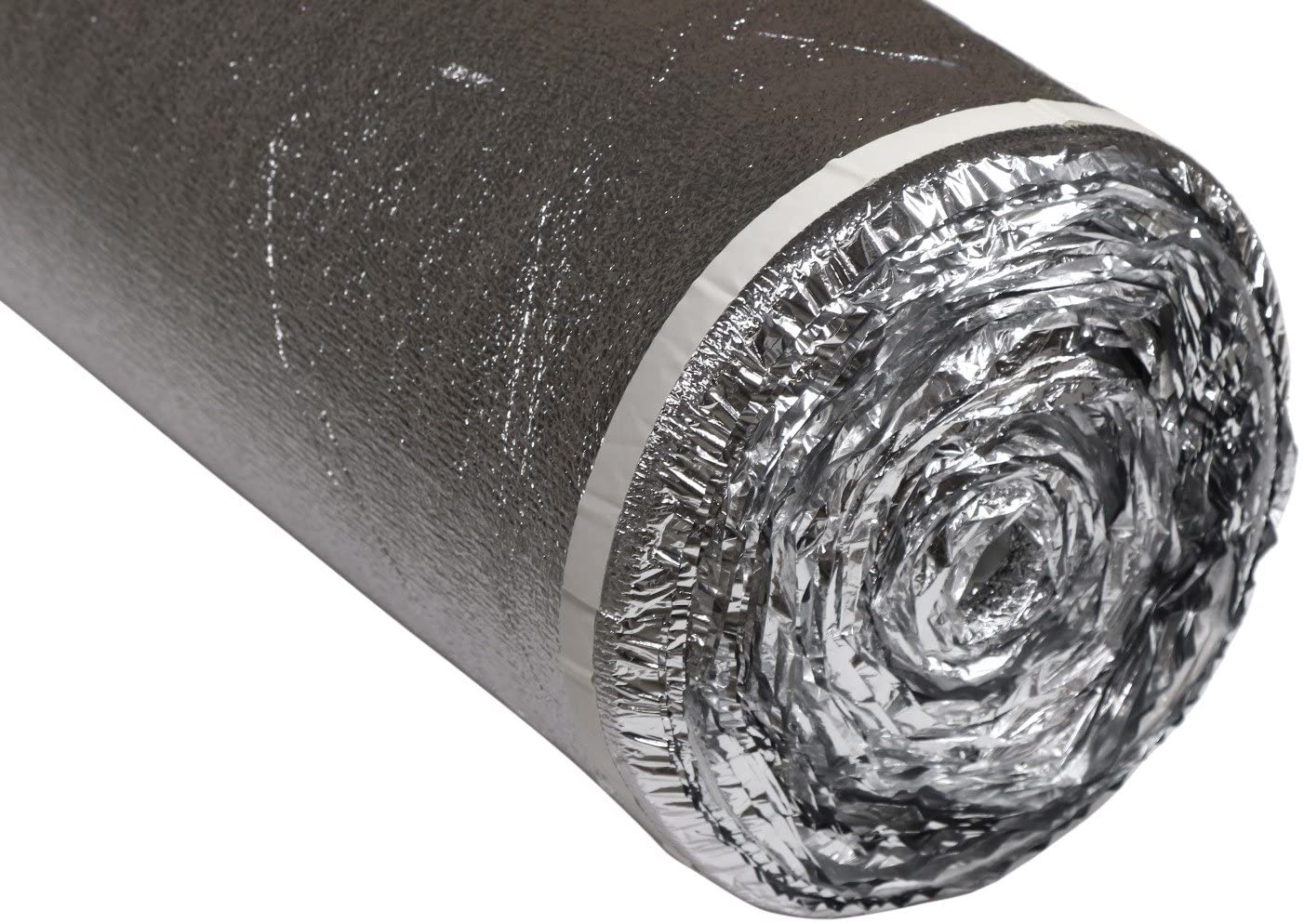 200SQFT AMERIQUE Premium Floor Underlayment Padding with Moisture Barrier & Tape 3-in-1 Heavy Duty Foam 2MM Thick, CHROME SILVER, 200 SF/Roll
