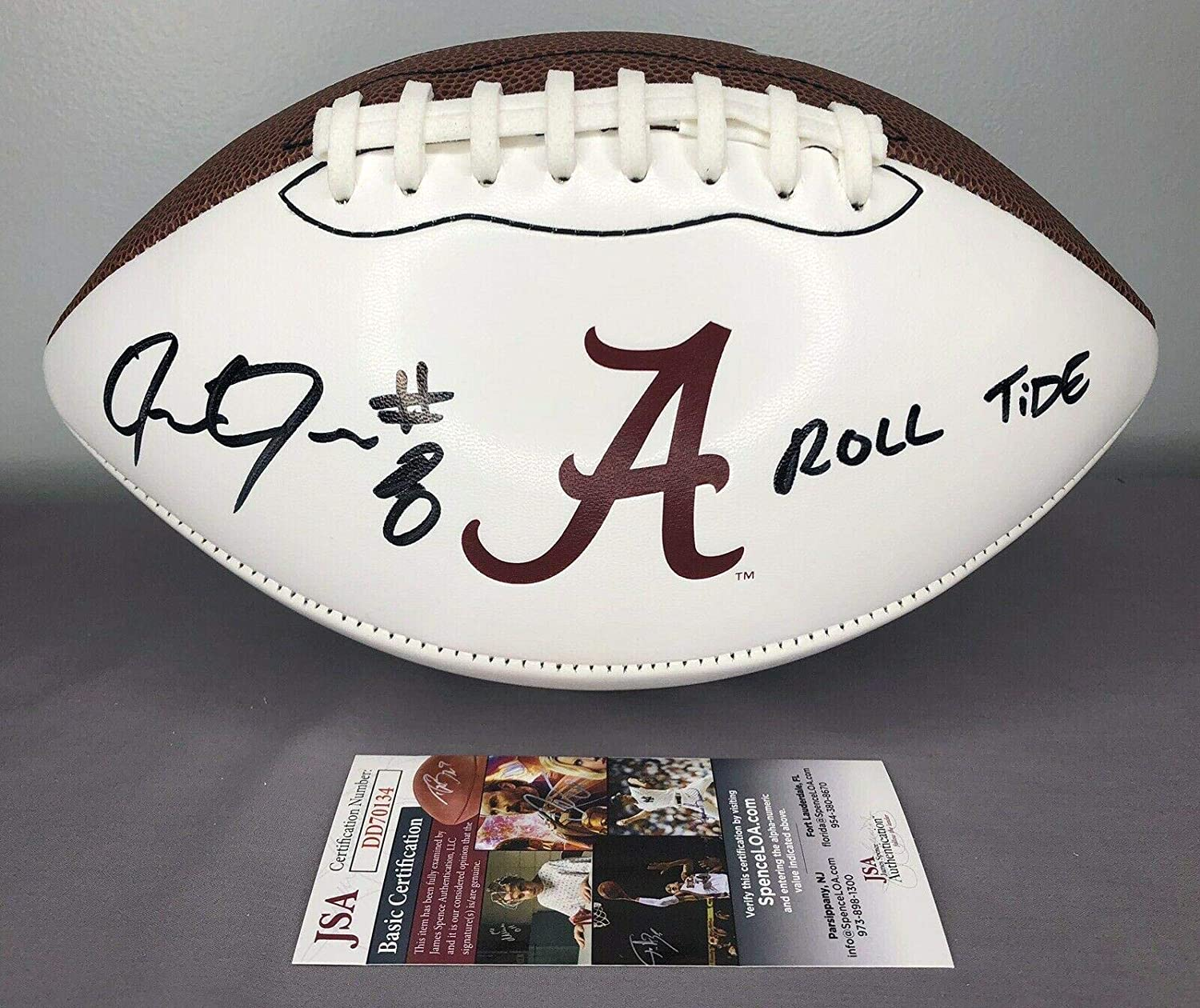 Josh Jacobs SIGNED Alabama Crimson Tide Nike Football w/COA ~ Roll Tide - JSA Certified - Autographed College Footballs