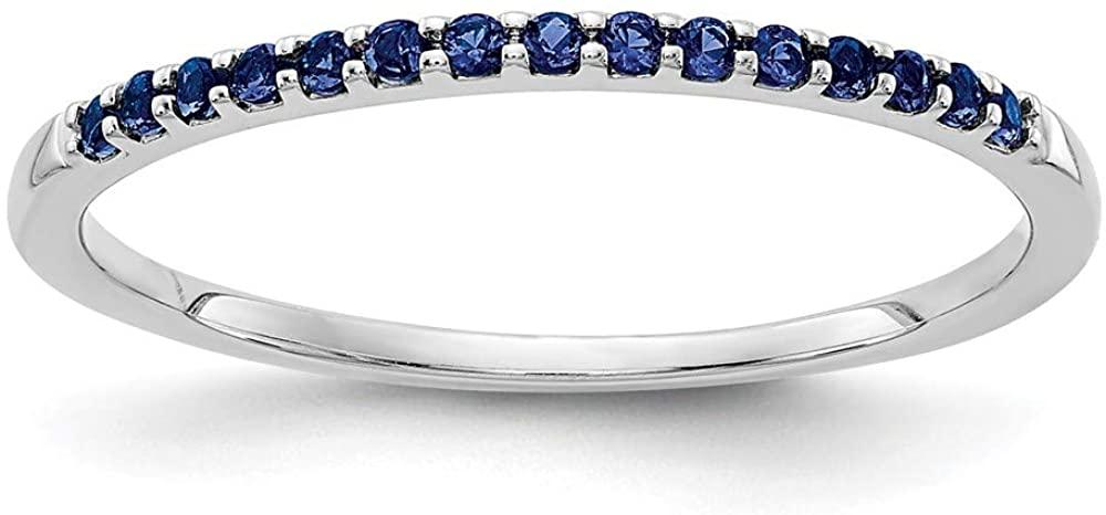 Solid 14k White Gold Blue Sapphire Blue September Gemstone Engagement Ring Size 6.75