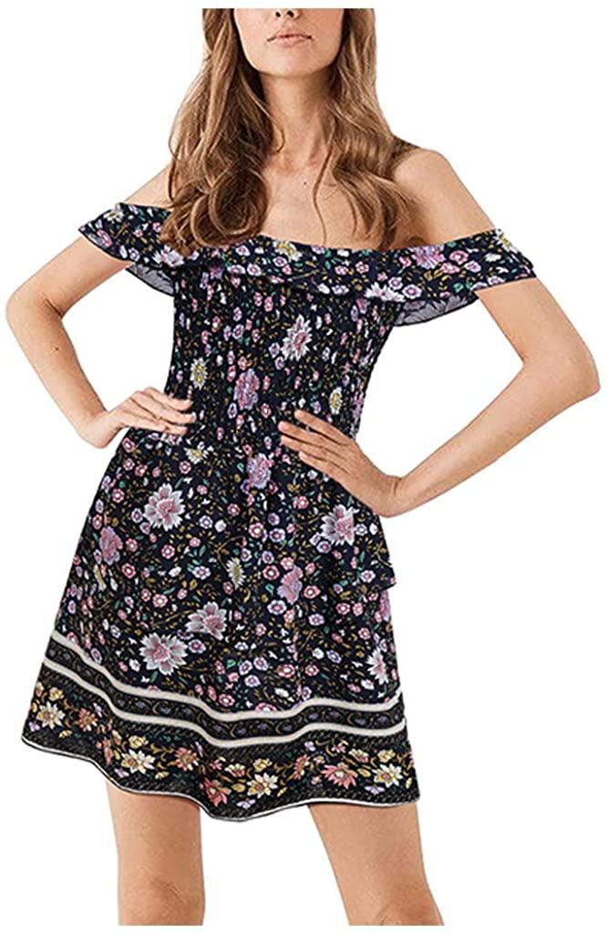AmyDong Dress for Women,Women Fashion Bohe Dot Print Camisole O-Neck Button Ruffled Sundress Dress
