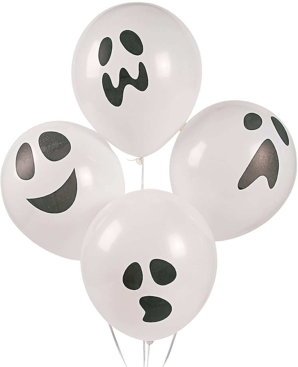 Fun Express - Ghost Latex Balloons for Halloween - Party Decor - Balloons - Latex Balloons - Halloween - 48 Pieces