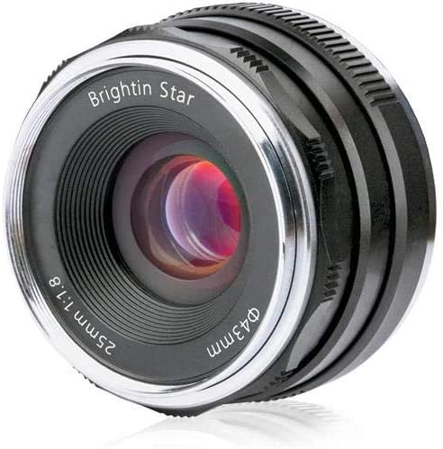 Brightin Star 25mm F1.8 APS-C Classic Fixed Focus Lens for Canon M-Mount Mirrorless Cameras, Black