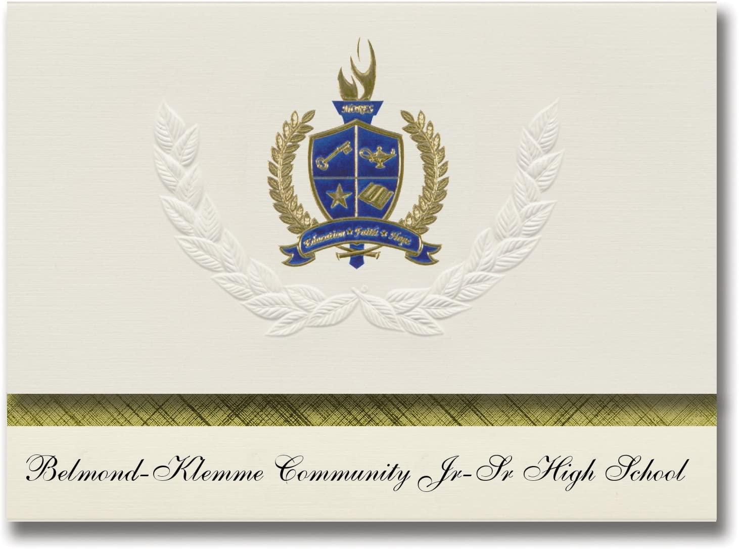 Signature Announcements Belmond-Klemme Community Jr-Sr High School (Belmond, IA) Graduation Announcements, Presidential Basic Pack 25 with Gold & Blue Metallic Foil seal
