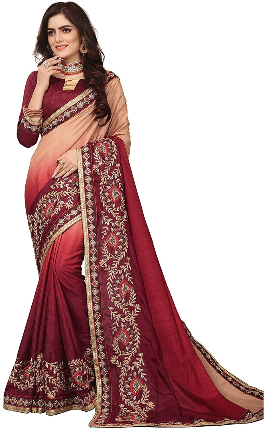 Saree for Women Bollywood Wedding Designer Dola Silk Sari with Unstitched Blouse.