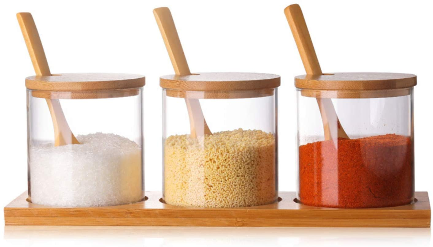 DecentGadget 3pack glass Spice jars set Sugar Bowl Seasoning Pots with Bamboo Lid holders ans 3 Spoon