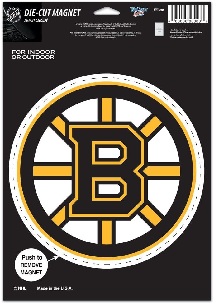 WinCraft NHL Boston Bruins 85636010 Die Cut Logo Magnet, Small, Black