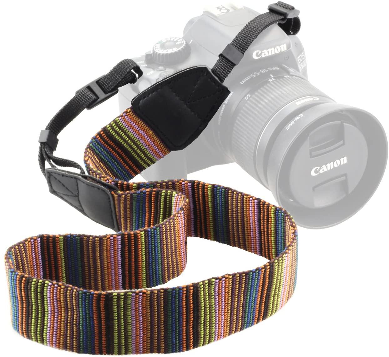 BeeChamp Vintage Soft Shoulder Strap Colorful Camcorder Belt for DSLR Camera