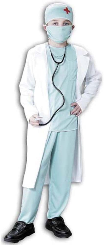 Kids Doctor Scrubs and Coat Costume (Size: Medium 8-10)
