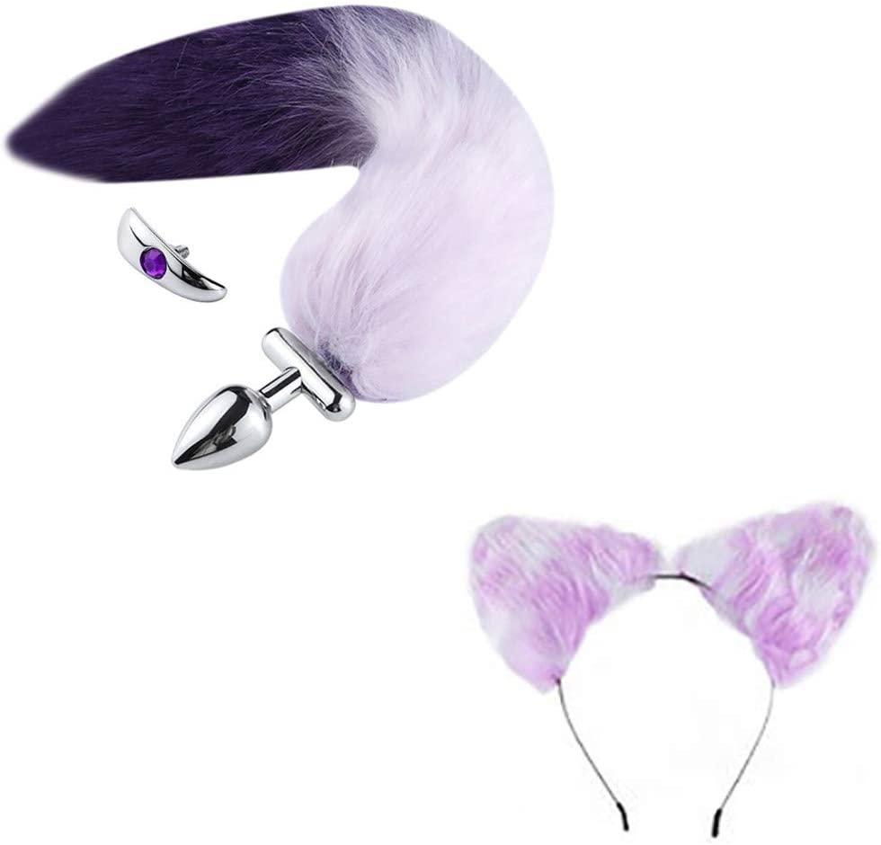 UOKNICE Sex Stainless Steel Anal Plug Fox Tail Butt Plug Anal Sex Toys Anal Tail Plug(Purple)