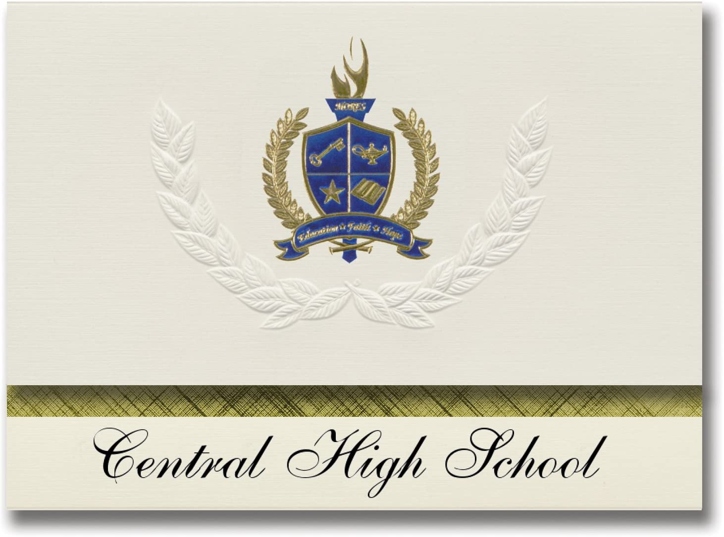 Signature Announcements Central High School (Hayneville, AL) Graduation Announcements, Presidential style, Elite package of 25 with Gold & Blue Metallic Foil seal