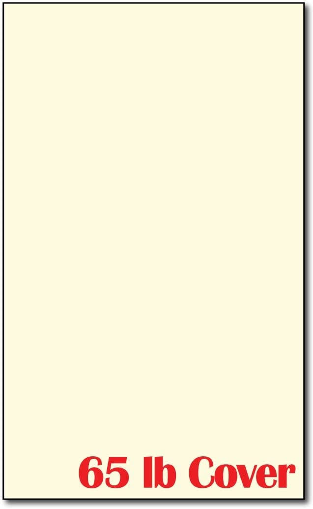 50 Sheets Legal Size (8 1/2 X 14 Inches) - 65lb Cover - Cream Colored Cardstock - Perfect for Documents, Programs, Menus, and More!