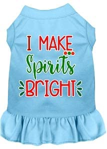 Mirage Pet Product I Make Spirits Bright Screen Print Dog Dress Baby Blue 4X