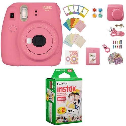 Fujifilm Instax Mini 9 Camera, Flamingo Pink - Bundle instax Mini Instant Daylight Film Twin Pack 20 Exposures, Instax Mini 9 Accessory Kit Flamingo Pink