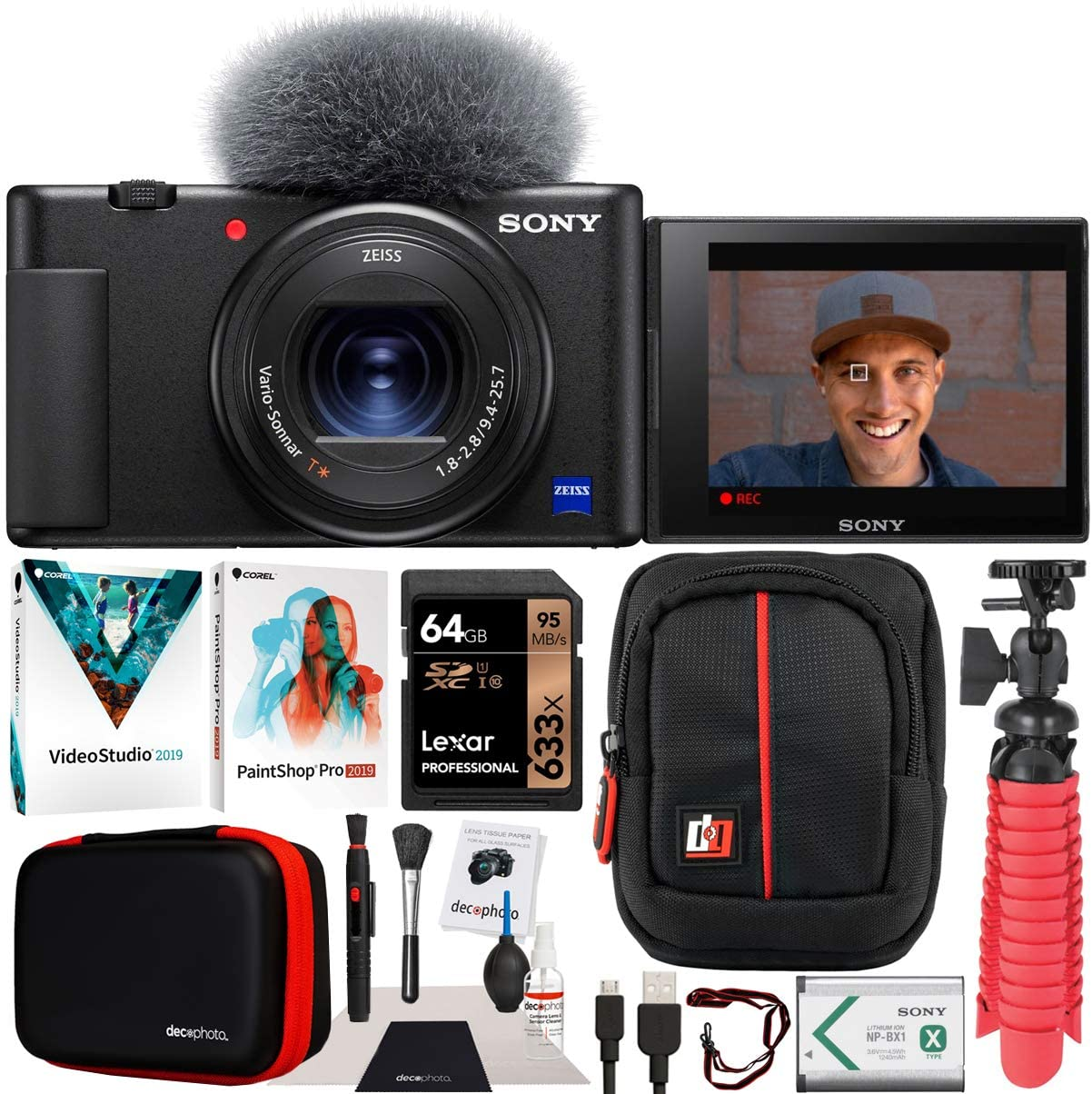 Sony ZV-1 Compact Digital Vlogging 4K HDR Video Camera for Content Creators & Vloggers DCZV1/B Bundle with Deco Gear Case + Software Kit + 64GB Card + Compact Tripod/Handheld Grip and Accessories