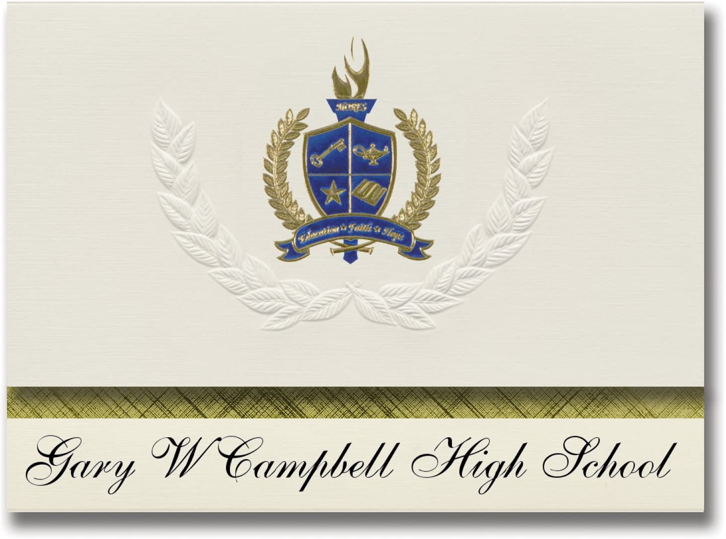 Signature Announcements Gary W Campbell High School (Kaufman, TX) Graduation Announcements, Presidential style, Basic package of 25 with Gold & Blue Metallic Foil seal