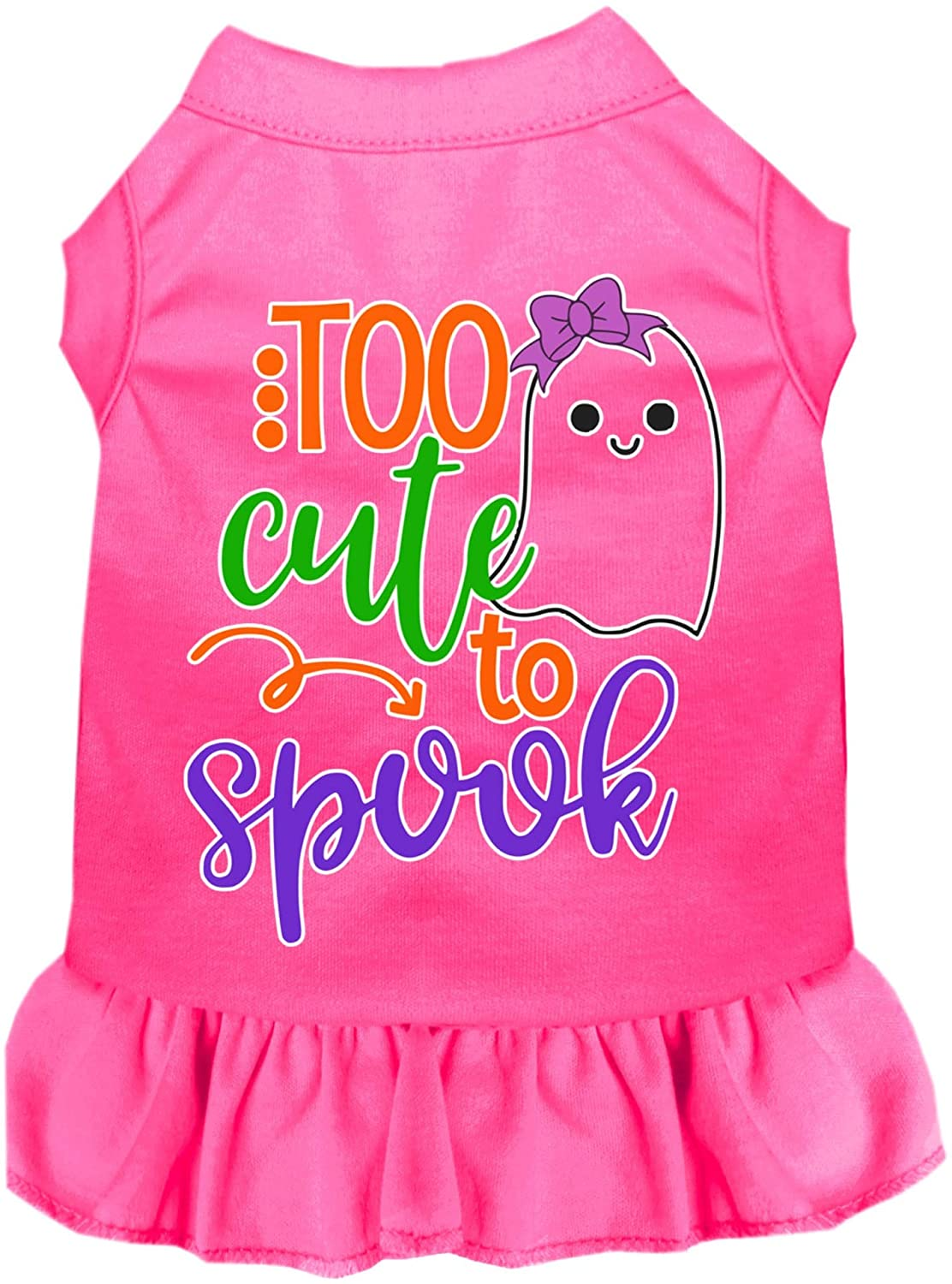 Mirage Pet Product Too Cute to Spook-Girly Ghost Screen Print Dog Dress Bright Pink XXL
