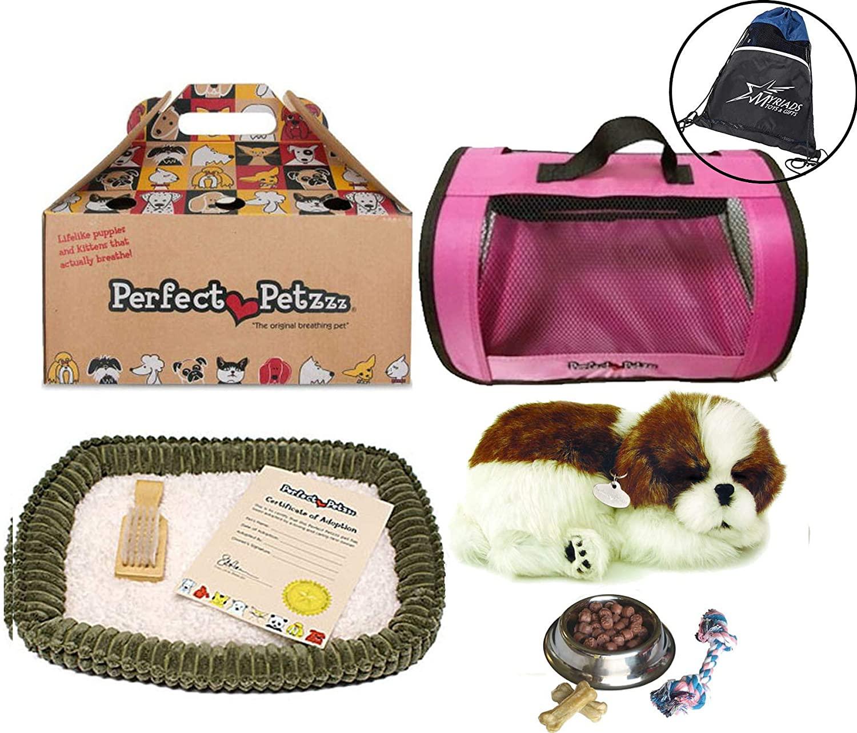 Perfect Petzzz Shih Tzu Plush Pink Tote Plush Breathing Pet Dog Food, Treats Chew Toy Myriads Drawstring Bag