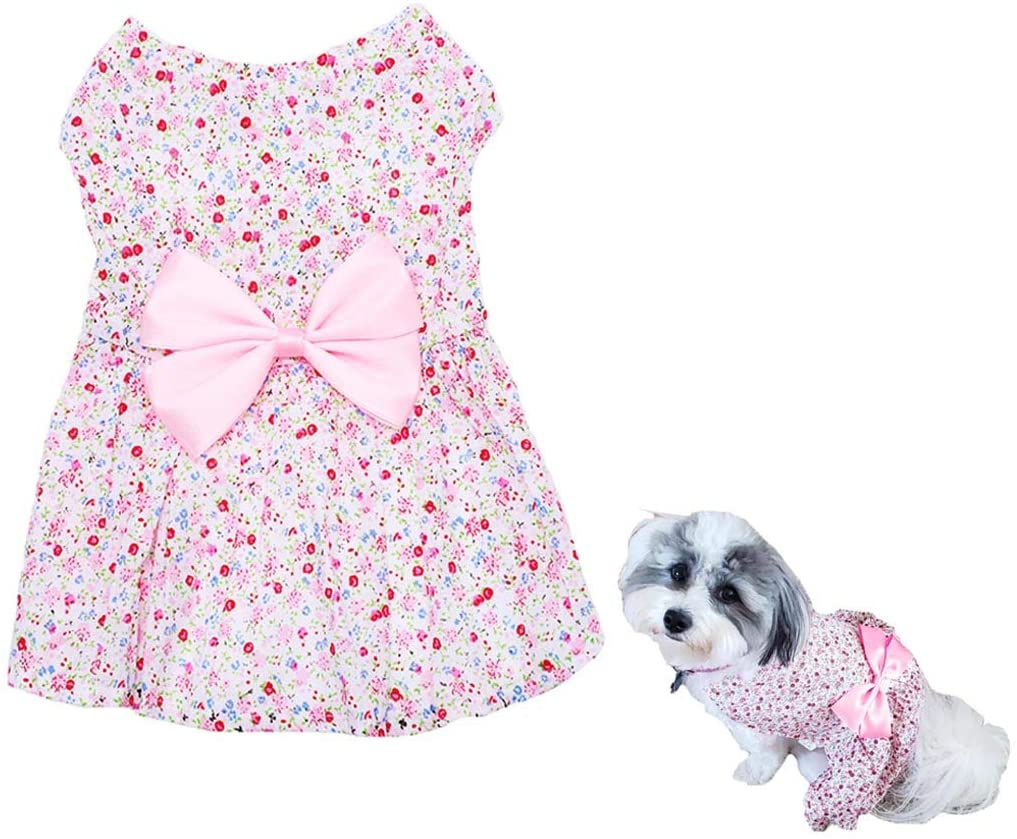 Petea Bowknot Floral Dress Tutu Dog Dress Vest Apparel Skirt Clothes Pet Puppy Birthday Princess Dress Clothes for Dogs and Cats