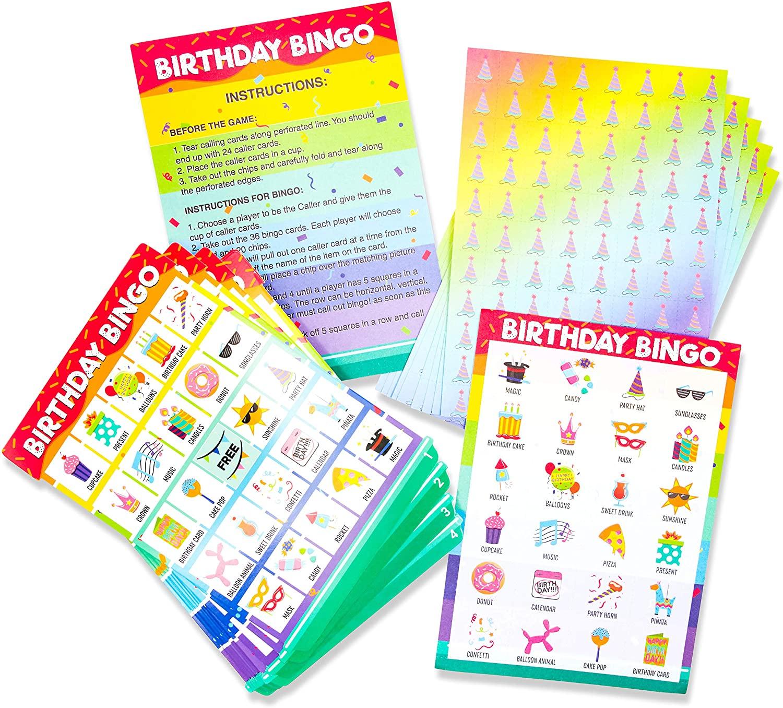 Blue Panda Birthday Bingo Game 36 Pack - Birthday Party Bingo