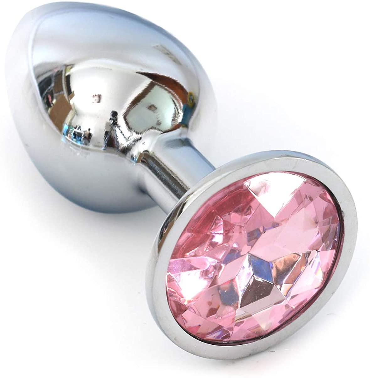 Pink Crystal Stainless Steel Bûtt Pl'ug Beads Jeweled Back