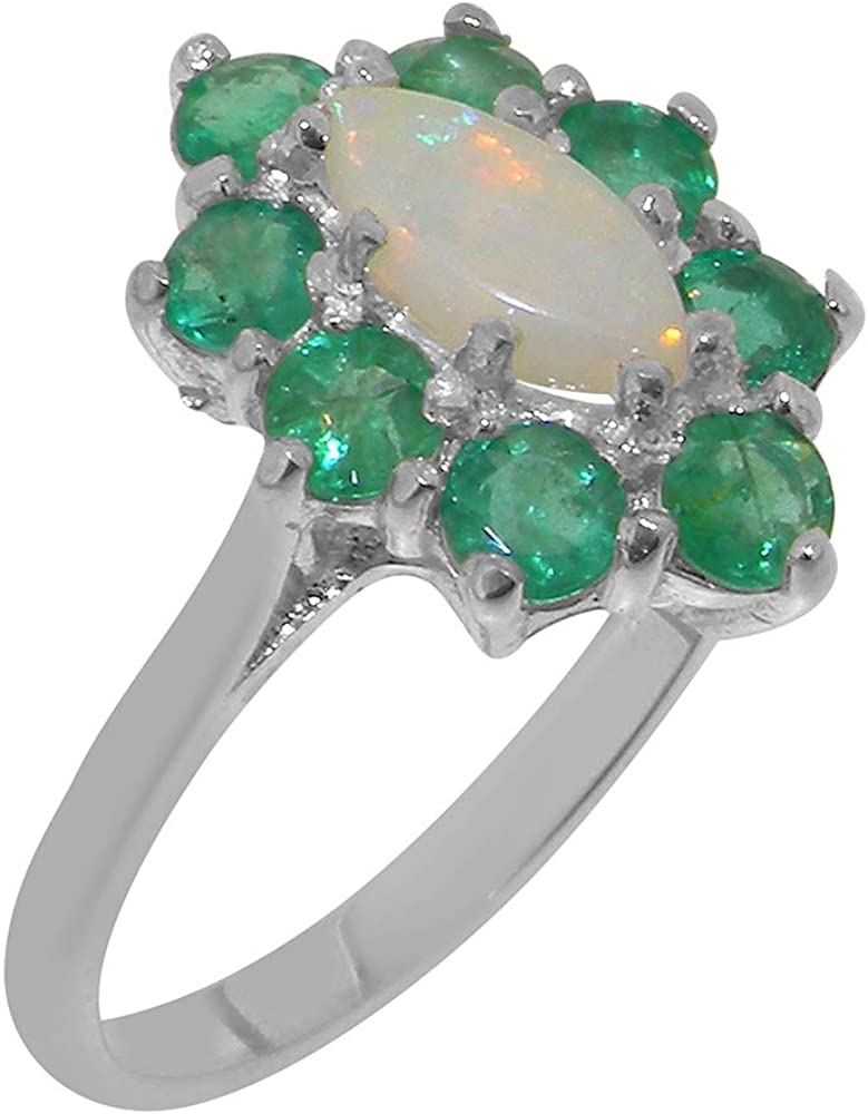 Solid 14k White Gold Natural Opal & Emerald Womens Cluster Ring - Sizes 4 to 12 Available