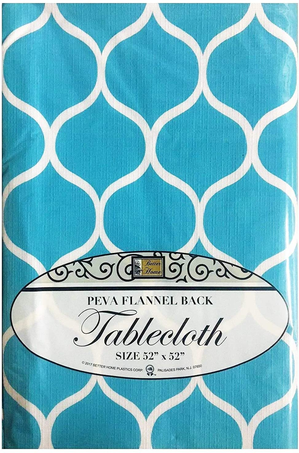 Better Home Blue Ogee Design Tablecloth PEVA Flannel Backed Kitchen Decorator (52
