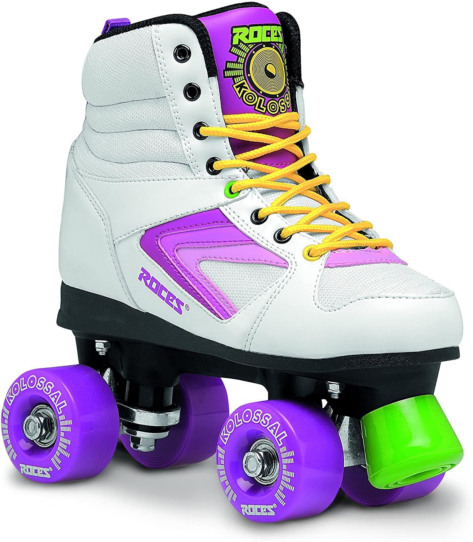 Roces 550041 Model Kolossal Roller Skate, US 8M/10W, White/Purple/Yellow
