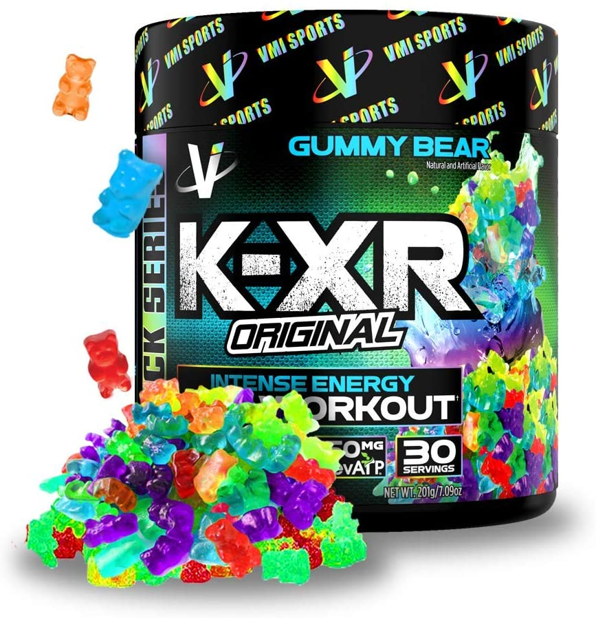 VMI Sports K-XR Pre-Workout Supplement for Intense Energy, Gummy Bear, Muscle Builder for Extreme Pumps, Enhanced Focus, Creatine Free, Endurance, Strength and Power Pre-Workout Powder