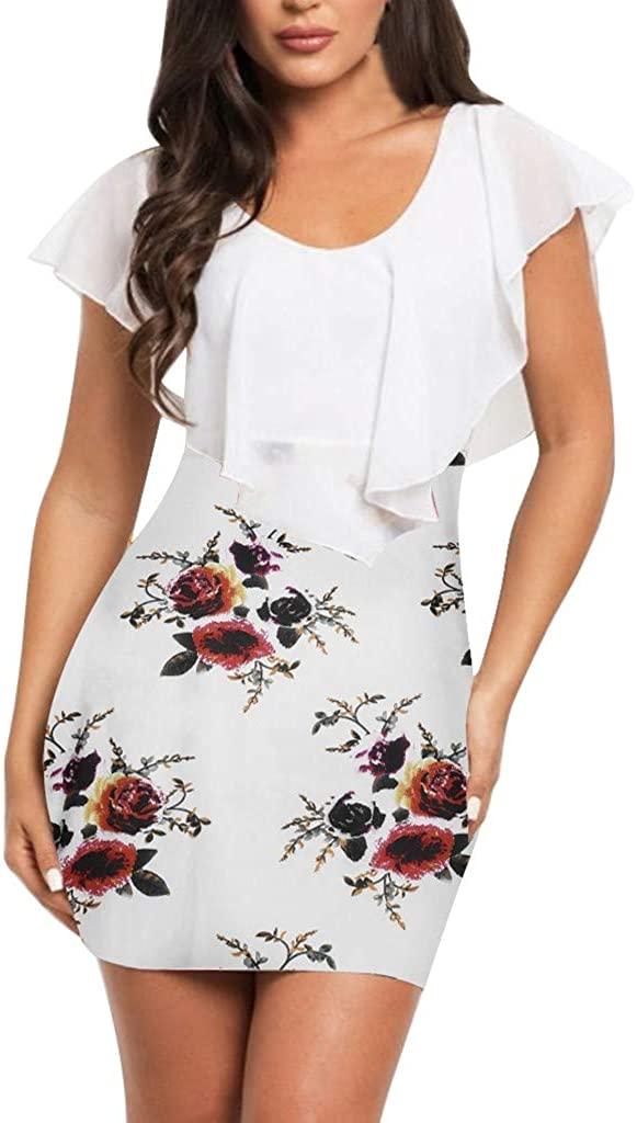 LENXH Ladies Dress Sexy Skirt Flower Print Dress Bag Hip Dress Lace Skirt Tight Mini Skirt