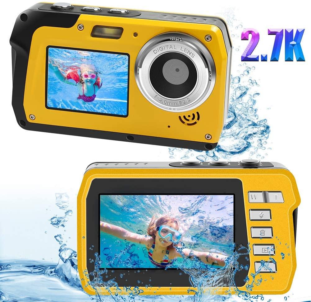 Underwater Waterproof Digital Camera for Snorkeling 48MP 2.7K Waterproof Video Camcorder Selfie Dual Screen Video Camera Point Shoot Digital Camera