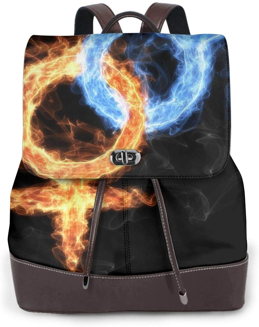 N /A Womens Backpack Purse Symbol Male and Female, Ice and Fire, Men and Woman Shoulder Schoolbag Leather Casual Bag Girls