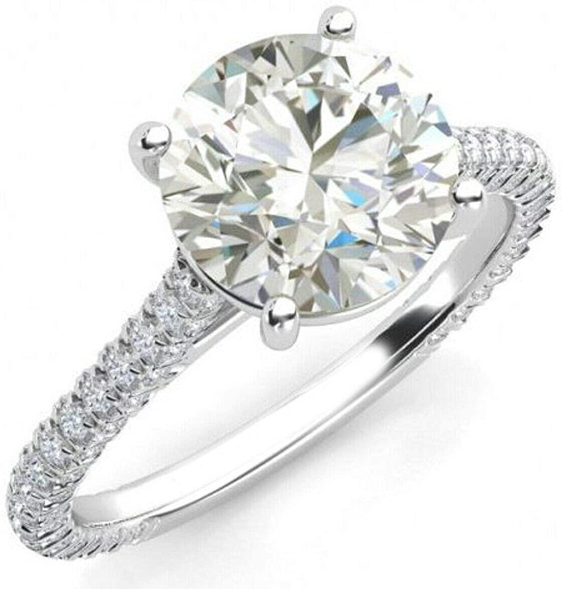RINGJEWEL Round Cut Near White Moissanite Engagement Ring Size 7
