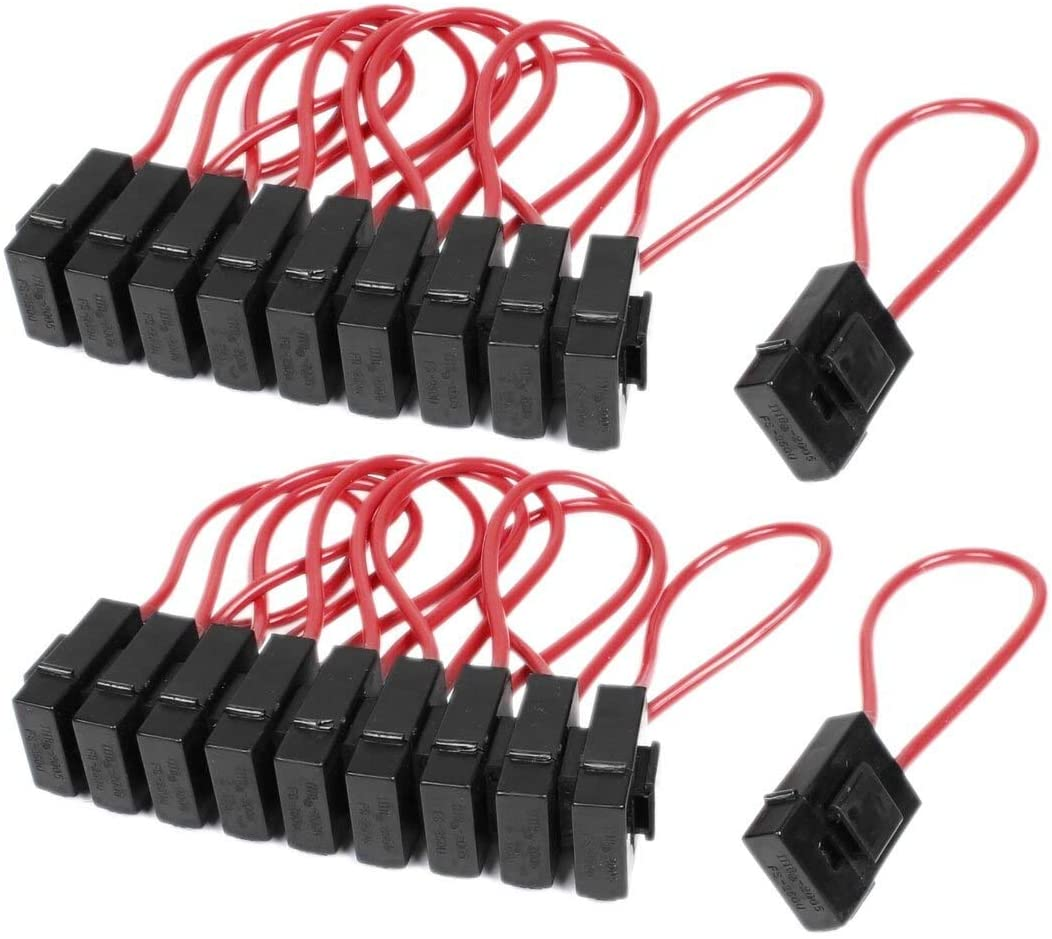 Chavis 30A Wire In-line Fuse Holder Block Black Red for Car Boat Truck 20pcs