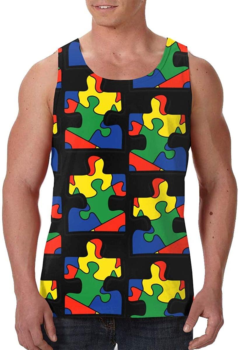 Fengyaojianzhu Autism Awareness Mens Tank Top T-Shirt Retro Sleeveless Vest