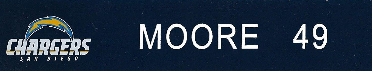 Brandon Moore Game Used 2010 Chargers Football Locker Name Plate #49 49ers OU LB - NFL Game Used Footballs
