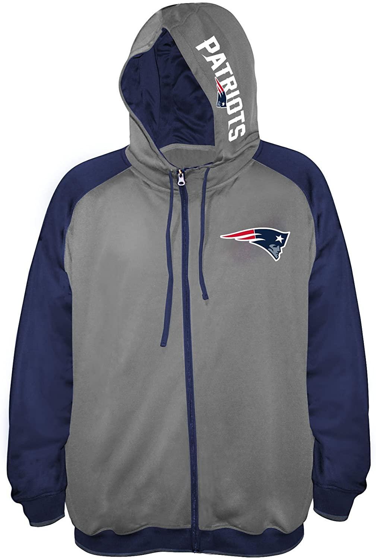 NFL Team Apparel NFL Mens Patriots Full Zip Poly Fleece Raglan