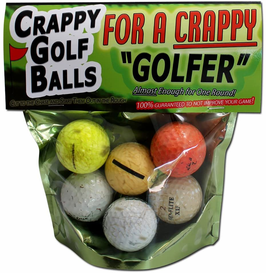 Gears Out Crappy Golf Balls for a Crappy Golfer – Funny Gag Gifts for Golfers Guaranteed NOT to Improve Your Golf Game Includes 6 Golf Balls Novelty Golf Gifts