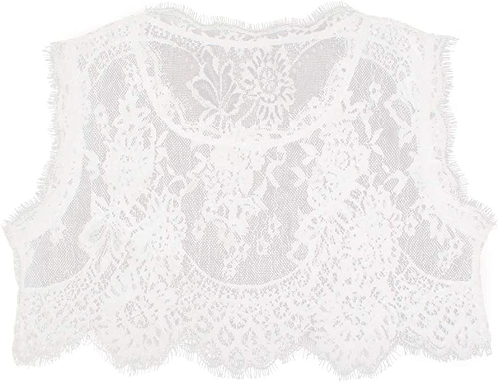Joyci Floral Lace False Collar Dickey Collar Round Neck Sleeveless Underwear Collar (White, Large)