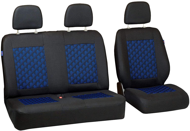 Zakschneider Car seat Covers for Citroen Jumper - Set 1+2 - Color Premium Black with Blue 3D Effect