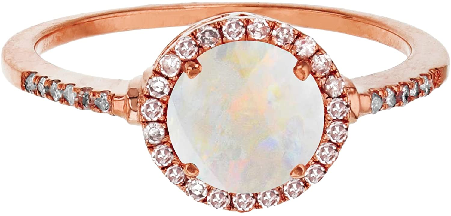 Sterling Silver Rose 7mm Round Opal & Created White Sapphire Halo Ring