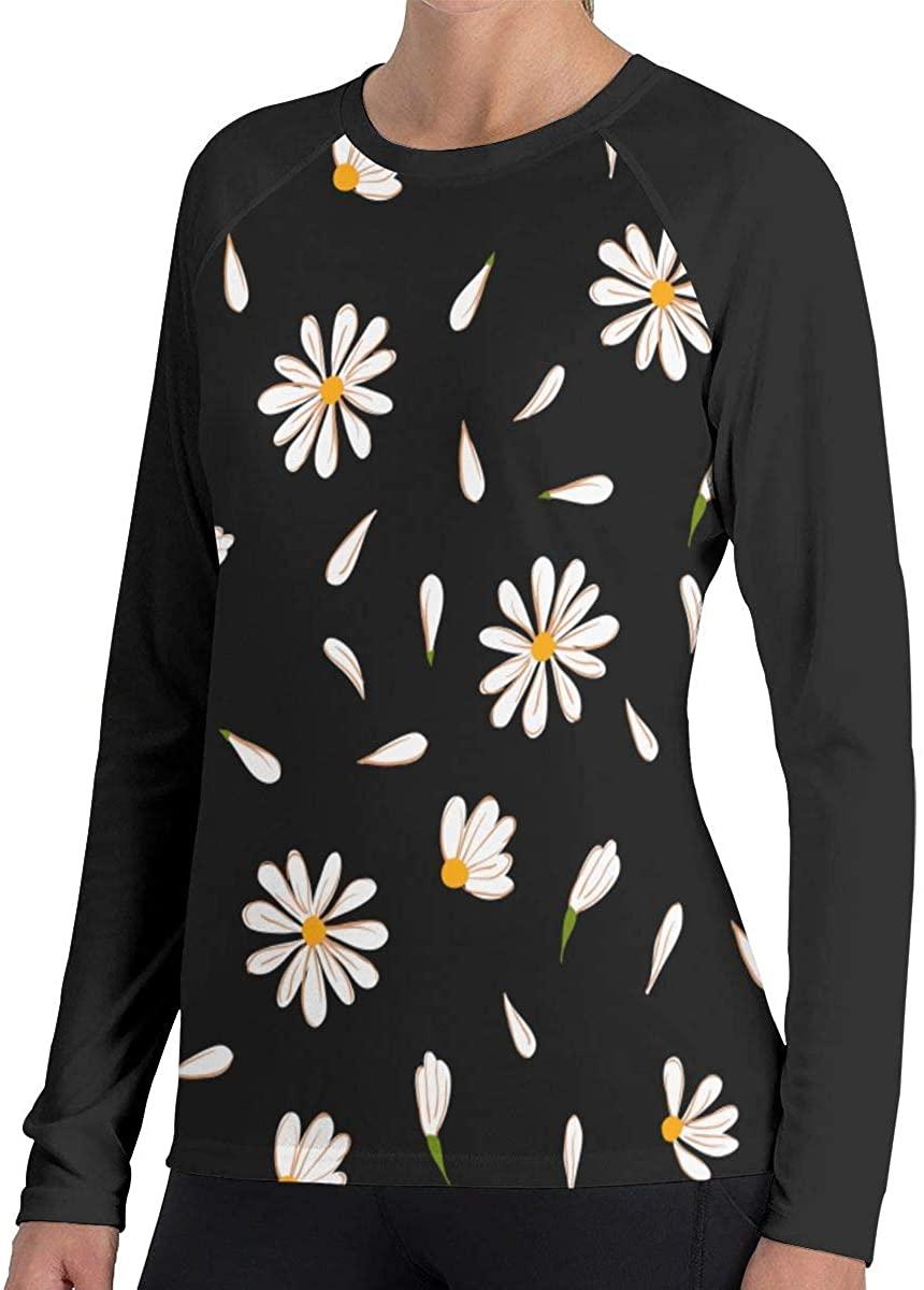 Women's White Daisies Novelty Long Sleeve Tops Sweatshirt Tee T-Shirt