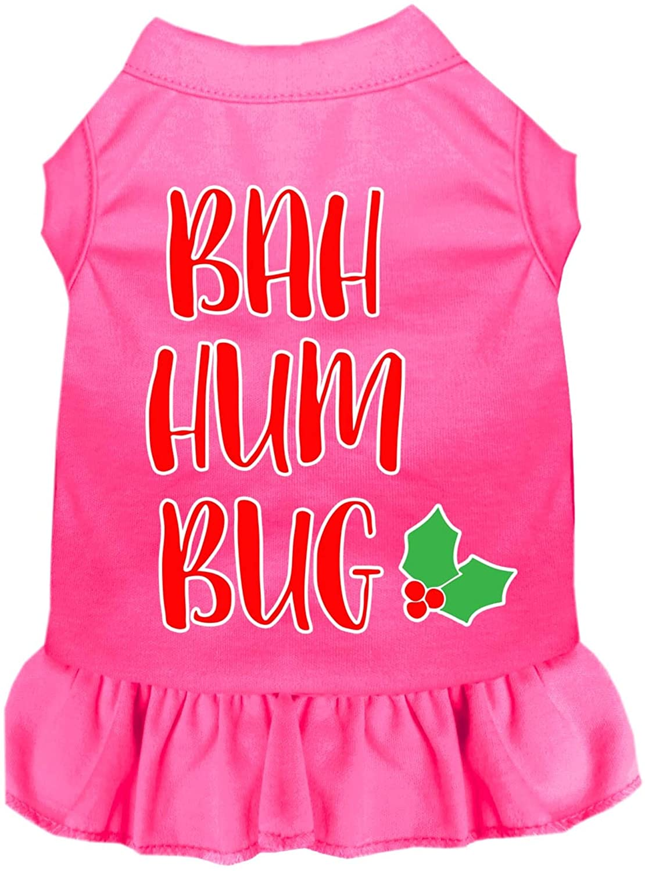 Mirage Pet Product Bah Humbug Screen Print Dog Dress Bright Pink Lg