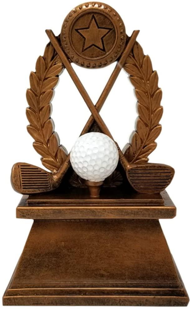Golf Wreath Trophy - Golf Tournament Award - 7 Inch Tall - Customize Now - Decade Awards