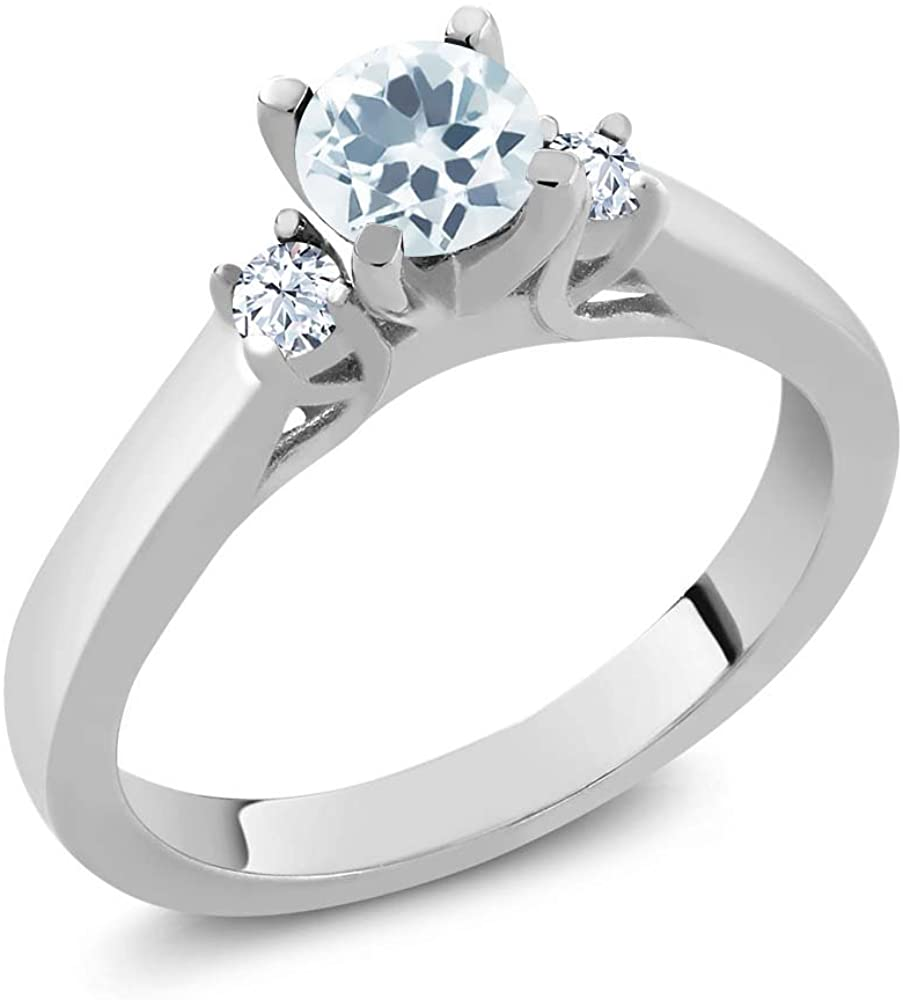 Gem Stone King 925 Sterling Silver Sky Blue Aquamarine and White Topaz 3-Stone Women's Engagement Ring (0.61 Ct Round, Available 5,6,7,8,9)